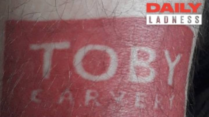 LAD Gets Toby Carvery Tattoo On His Leg, Even Though He 'Doesn't Really Like Them'