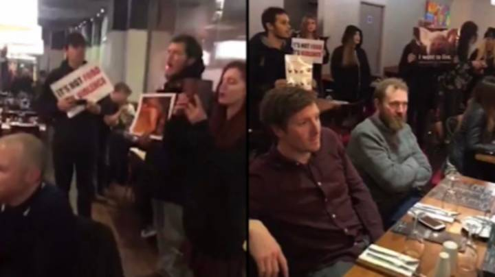 Vegan Activists Storm Steakhouse And Play Audio From Slaughterhouses As Diners Eat