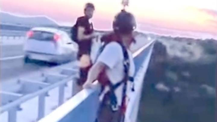 Man Saves Base Jumper's Life As He's About To Throw Himself Off Bridge