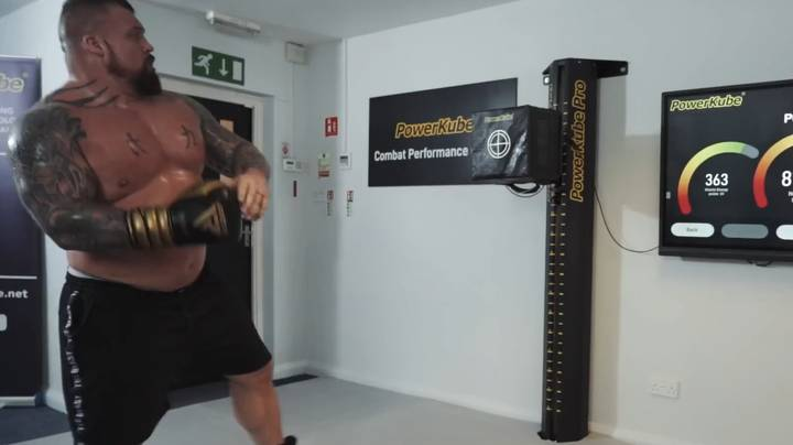 Eddie Hall Attempts To Beat Hardest Punch On The Planet