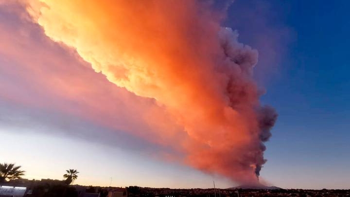 Mount Etna Erupts And Shoots Lava Into The Sky