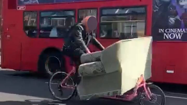 Cyclist Spotted Carrying Six-Foot Sofa On Bike In London