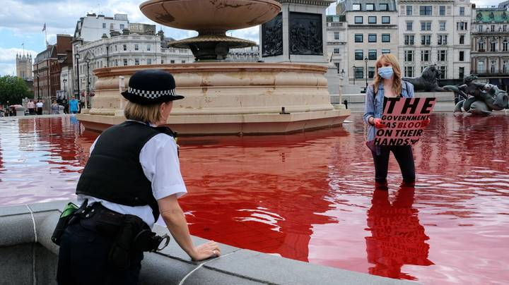 Animal Rights Activists Turn Trafalgar Square Fountains Blood Red