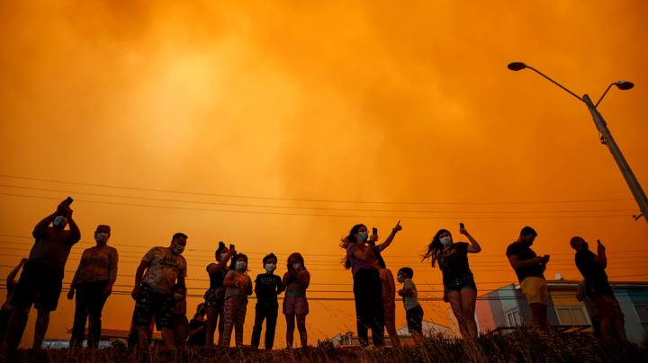 Sky Turns Red Over Chile Due To Wildfires In Eerie Footage