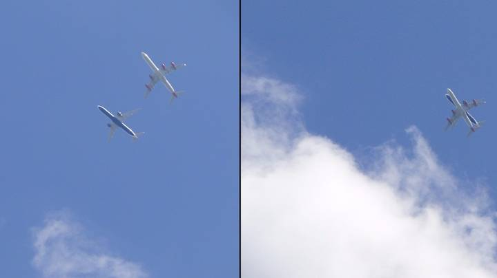 Two Planes Pictured Flying Terrifyingly Close To One Another