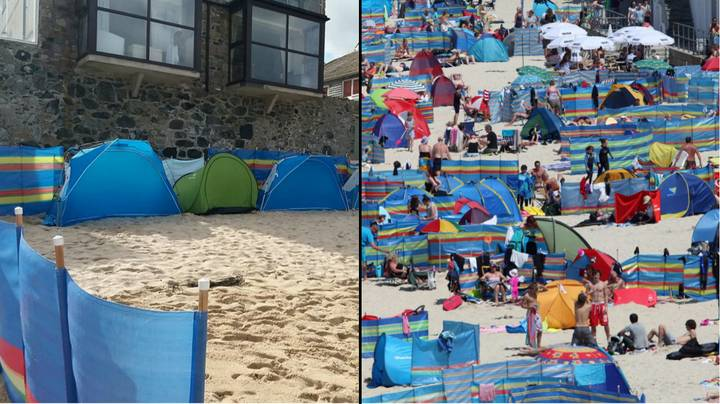 Selfish Holidaymakers Cordon Off Beach With Tents And Windbreaks