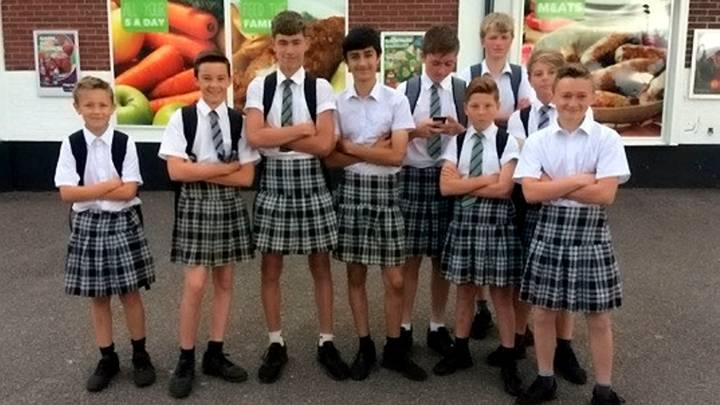Young LADs Defy 'Shorts Ban' By Wearing Skirts To School