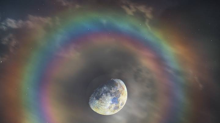 Stunning Photo Shows Moon With Celestial Rainbow