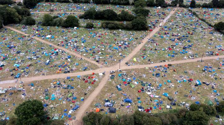 Fields Filled With Camping Equipment And Rubbish Following Reading And Leeds Festival