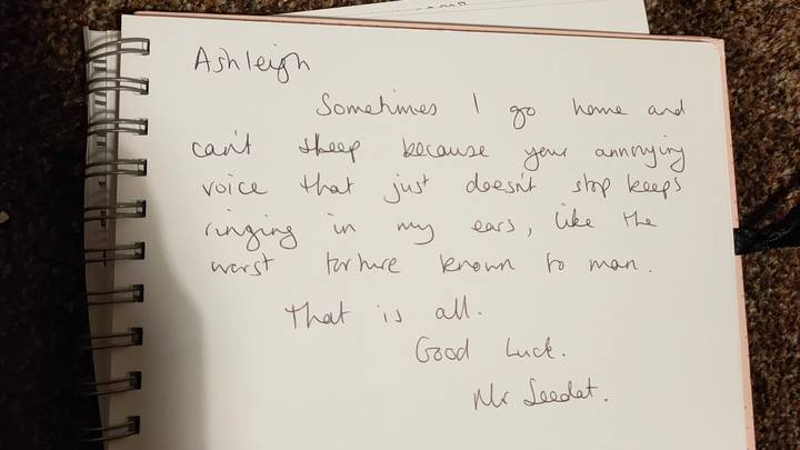 Woman Shares Savage Message School Teacher Left In Her Leaving Book
