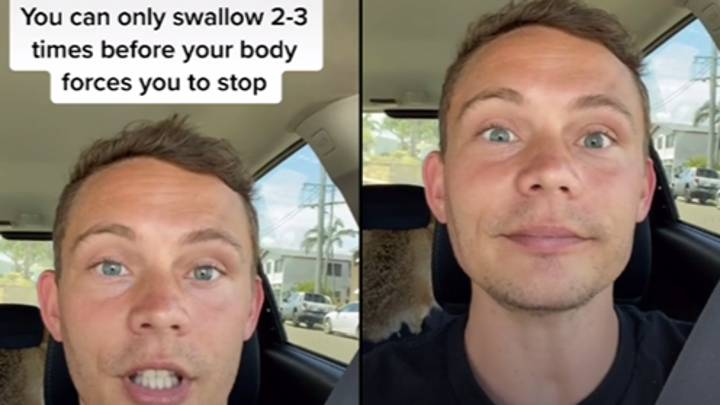TikToker Tests Theory You Can Only Swallow 2-3 Times Before Body Forces You To Stop
