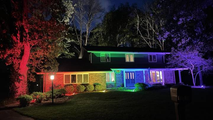 Gay Couple Bypass Flag Rules By Lighting Home Up In Rainbow Floodlights