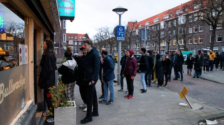 Long Queues Form Outside Amsterdam's Coffee Shops As Government Announces Closures
