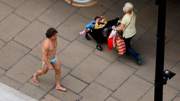 Man Walks Down Oxford Street In G-String Made Out Of Face Mask