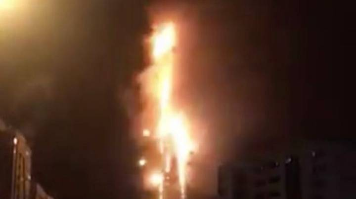 Huge Fire Tears Through Skyscraper In United Arab Emirates