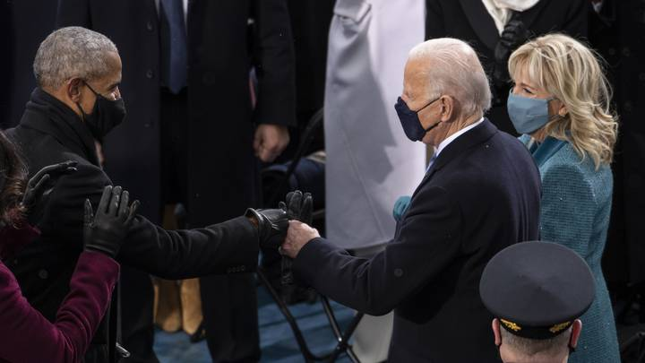 Joe Biden And Barack Obama's Bromance Strong As Ever As They Share Inauguration Fist Bump