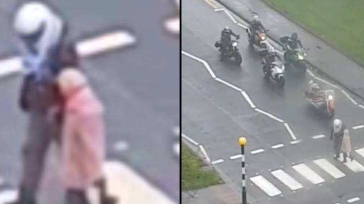 Biker Helps Old Lady Across The Road After Cars Ignore Zebra Crossing