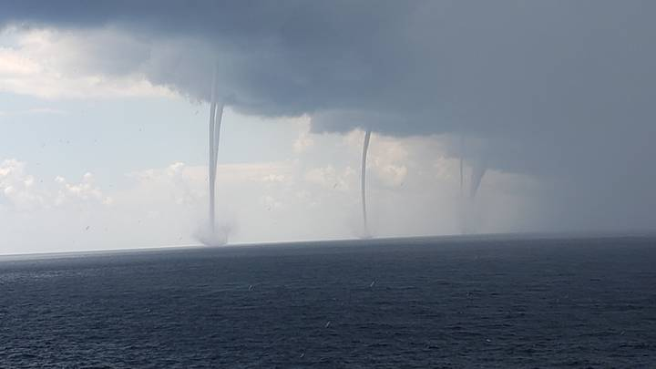 Footage Shows Six Waterspouts Swirling At Once In The Gulf Of Mexico