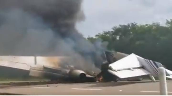 Plane Suspected Of Carrying £3.9 Million In Cocaine Found On Fire On Highway In Mexico
