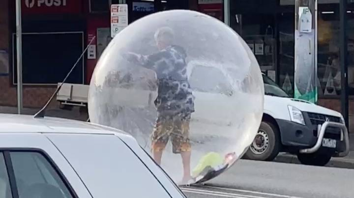 Melbourne Man Seen Walking Down The Street In A Bubble To Be Socially Distant