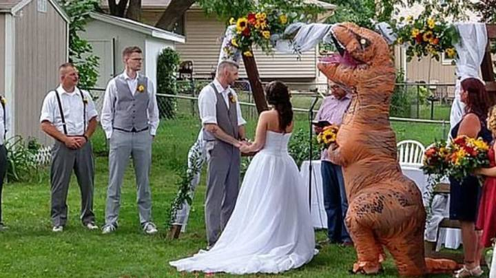 Bridesmaid Dresses As T-Rex For Sister's Wedding