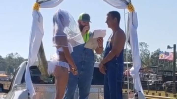Bikini-Clad Bride And New Husband Frolic In Mud After Ceremony