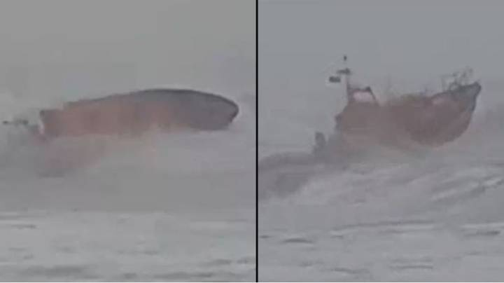 RNLI Lifeboat Crew Almost Capsize As They Battle To Save Surfer During Storm Ciara