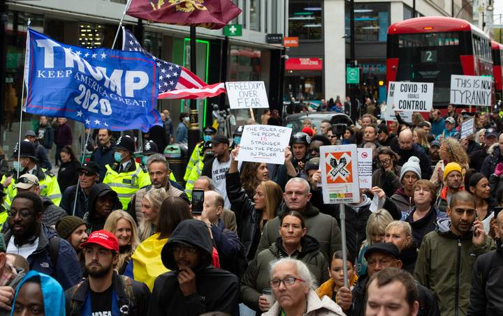 Thousands March In Anti-Lockdown Protest Through London