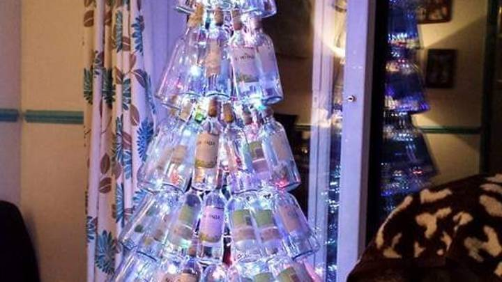 Mum's Homemade Light Up Christmas Tree Is Made Out Of Wine Bottles