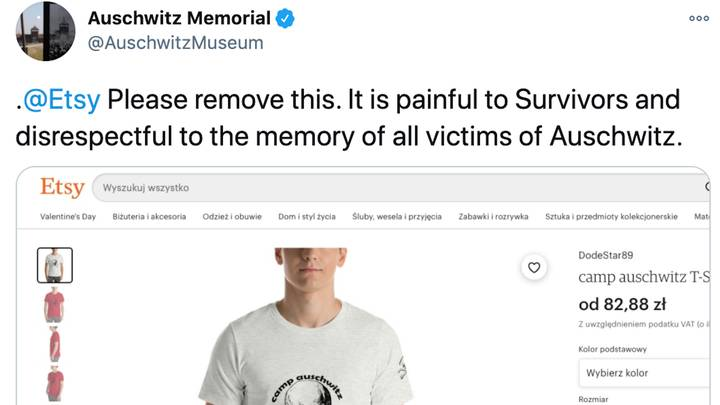Etsy Removes 'Painful And Disrespectful' Auschwitz Shirt After Receiving Criticism