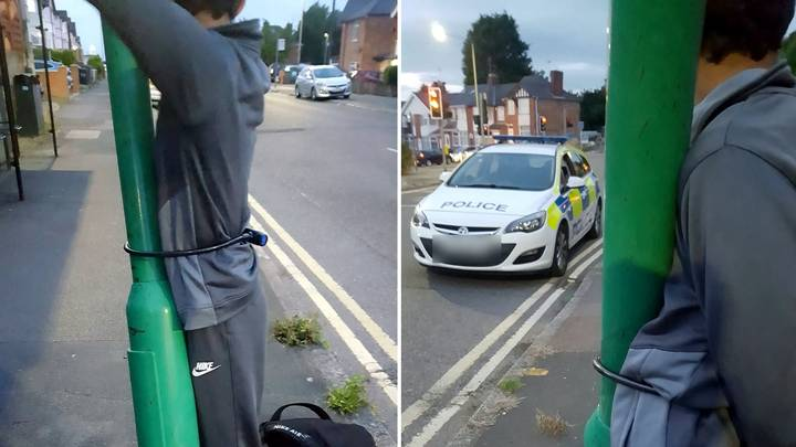 Teenager Flags Down Police After Getting Chained To Lamp Post