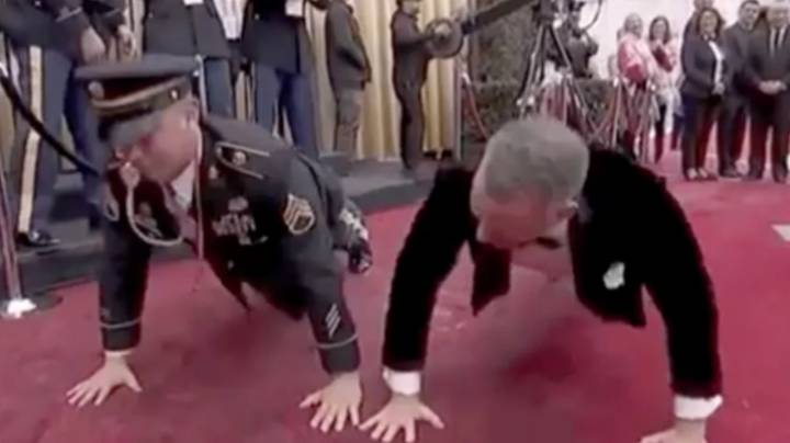 Tom Hanks Does Push Ups With US Army Sergeant On The Oscars Red Carpet