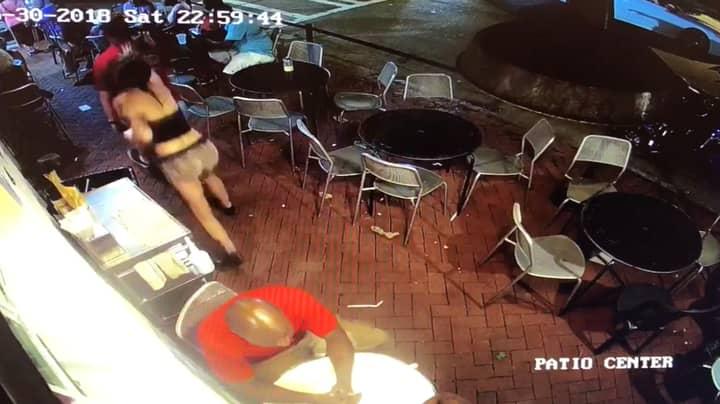Customer Slaps Woman's Bum And She Floors Him