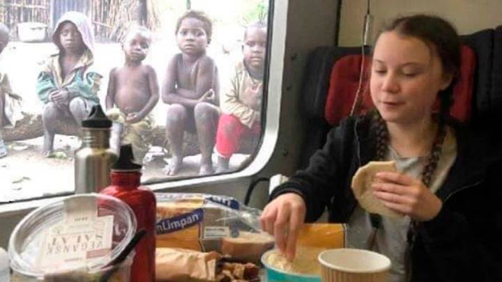 Fake Photo Of Greta Thunberg Eating Lunch In Front Of Poor Children Sparks Outrage