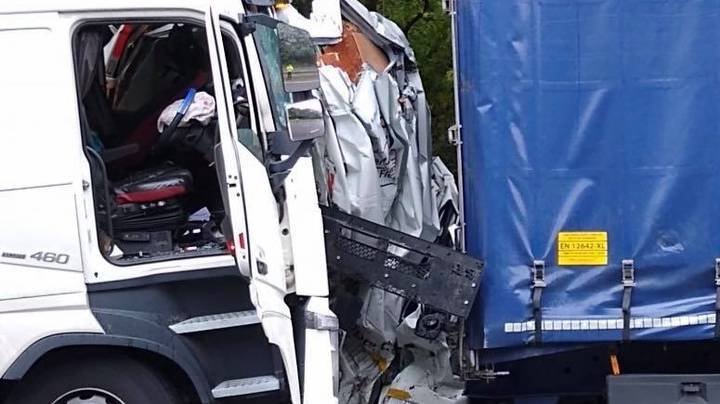 Van Driver Escapes With 'Very Slight Injuries' After Being Crushed Between Two Lorries On Motorway