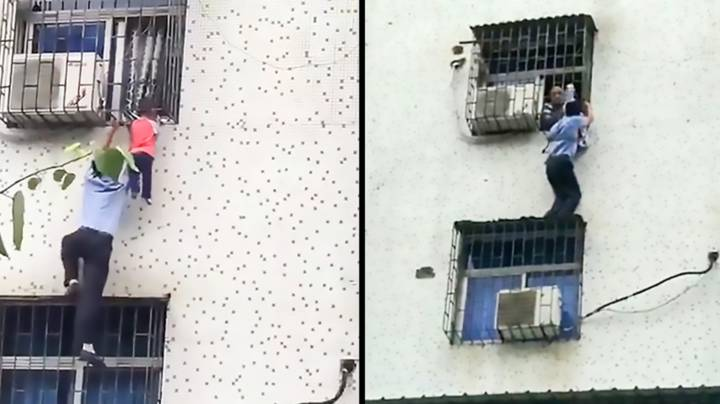 Heroic Man Saves Baby Hanging By Its Neck From A Window