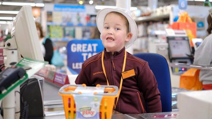 Young Autistic Lad Granted His Wish Of Working In A Sainsbury's Store
