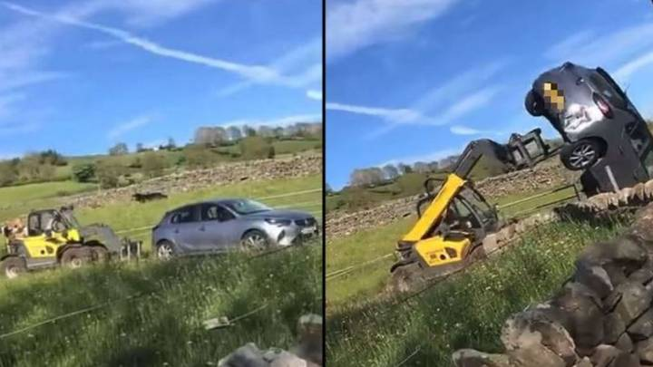 Furious Farmer Uses Tractor To Flip Car Blocking His Gate