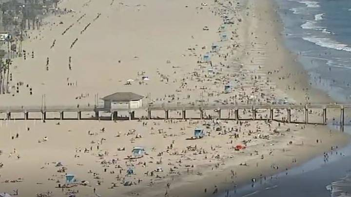 Tens Of Thousands Of People Hit California Beaches During Heatwave