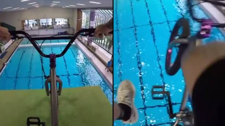 Man Runs Through Leisure Centre To Ride BMX Off Diving Board