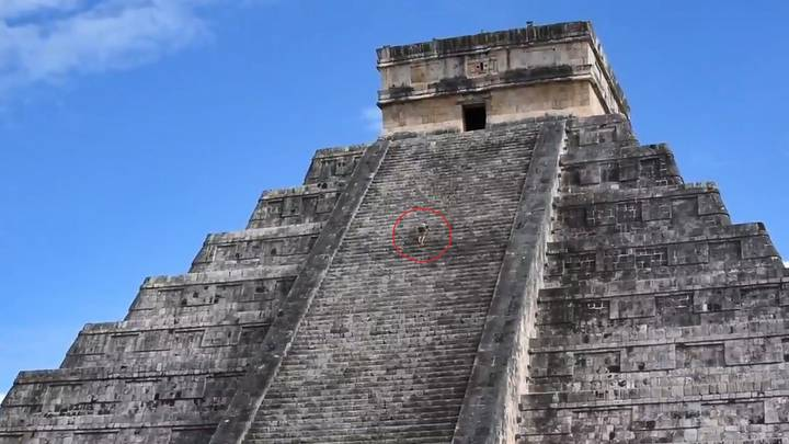 Tourist Filmed Climbing Up Ancient Mayan Pyramid In Front Of Puzzled Crowd