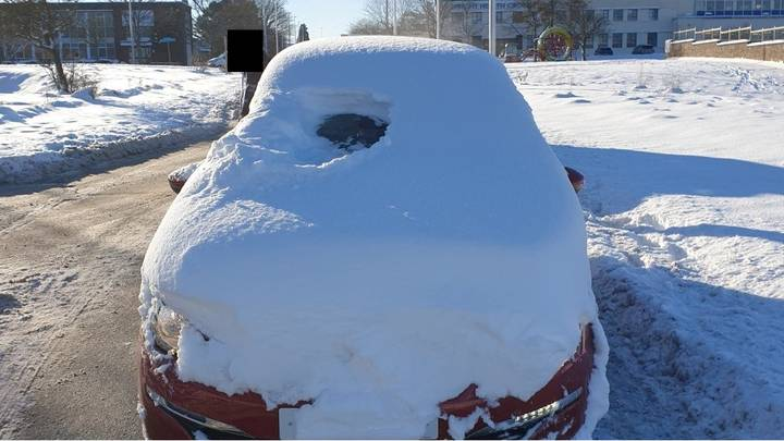 Police Catch Man Driving Snow Covered Car With 'Practically Zero Visibility'