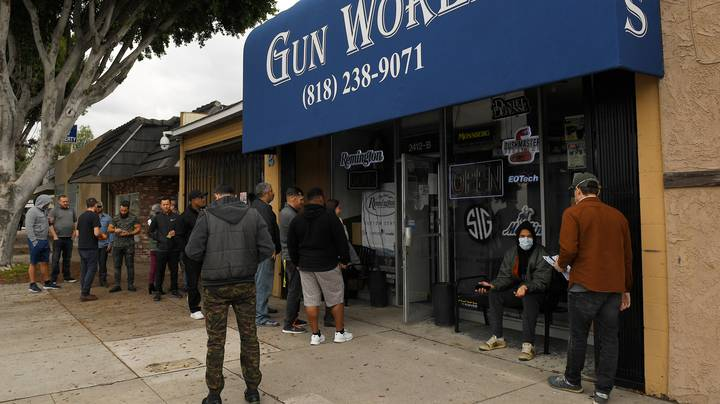 American Shoppers Queuing Around The Block For Guns Amid Coronavirus Outbreak