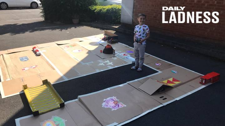 Dad Creates 'Real Life' Super Mario Kart Course For His Son During Lockdown