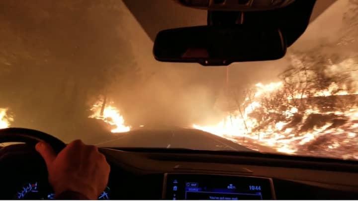 Terrifying Video Shows People Fleeing Raging California Wildfires