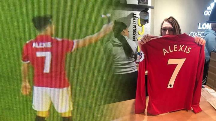 Alexis Sanchez Seen Pictured In Manchester United No.7 Shirt at Old Trafford