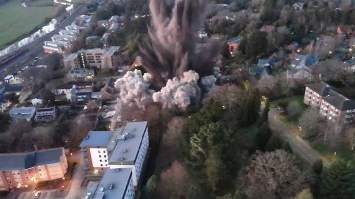 Drone Captures Incredible Moment World War 2 Bomb Is Blown Up In Exeter