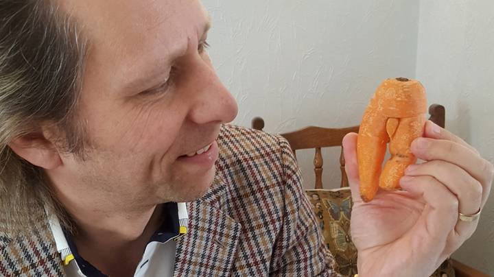 Man Refuses To Eat Rude Looking Carrot Because He Wants it As A Souvenir