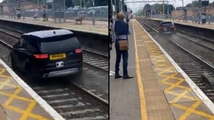 Land Rover Flees Along Train Tracks After Being Stopped By Police