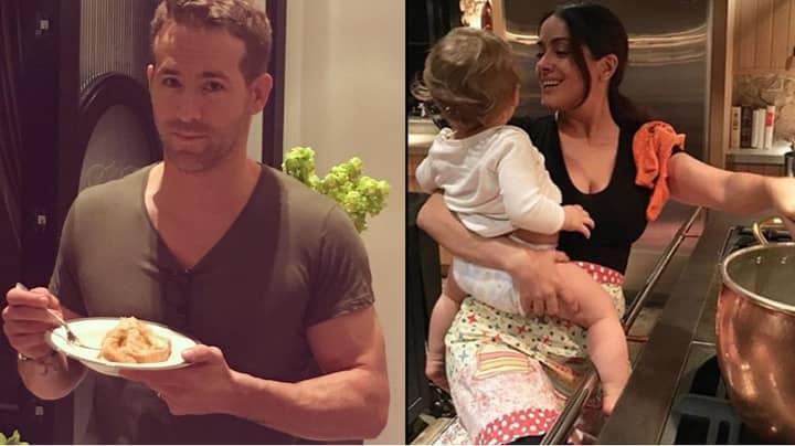 Ryan Reynolds Invites Salma Hayek Round, Makes Her Cook Dinner And Babysit